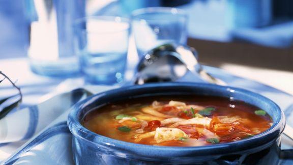 Rezept: Französische Fischsuppe mit Knoblauchbrot