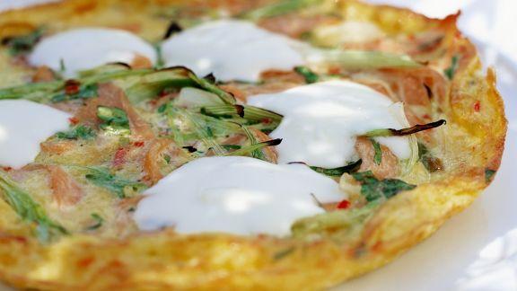 Rezept: Frittata mit Räucherlachs und Mascarpone