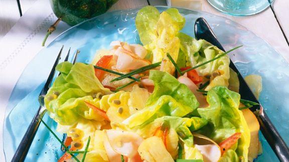 Rezept: Fruchtiger Kopfsalat mit Schinken