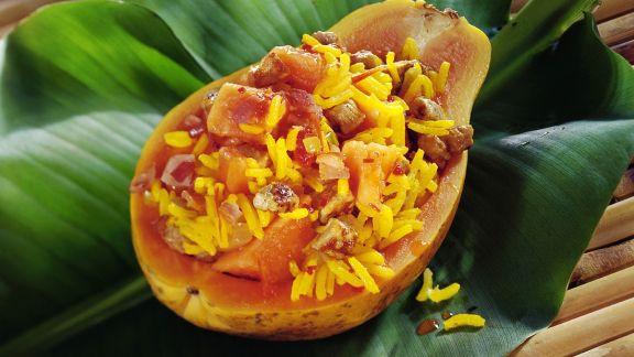 Rezept: Fruchtiger Safranreis mit Fleisch