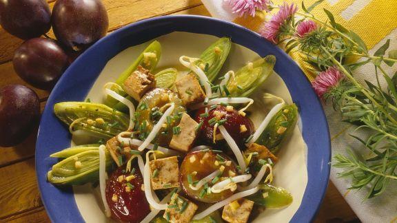 Rezept: Fruchtiges Lauchgemüse mit Tofu