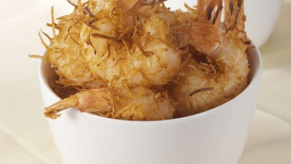 Rezept: Garnelen im Kokosteig gebacken dazu Zitronendip