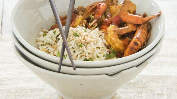 Rezept: Garnelen in süß-saurer Marinade mit nussigem Reis