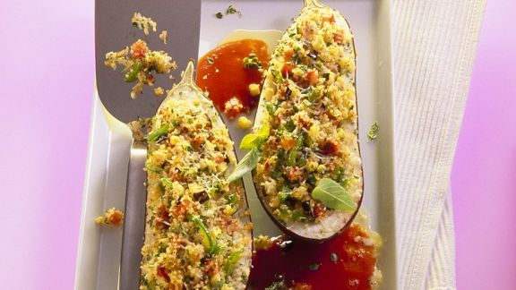 Rezept: Gebackene, gefüllte Auberginen