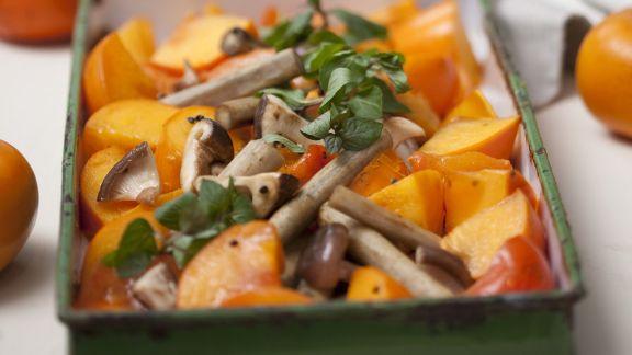 Rezept: Gebackene Kaki mit Pilzen und Schwarzwurzel