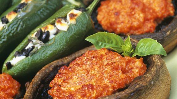 Rezept: Gebackene Paprika und Pilze mit Füllung