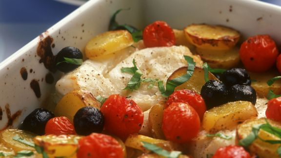 Rezept: Gebackener Kabeljau mit Oliven
