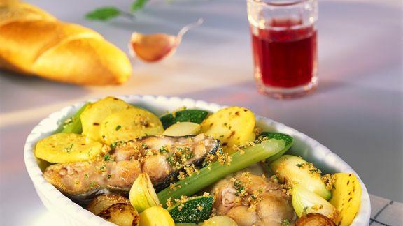 Rezept: Gebackener Karpfen mit Gemüse