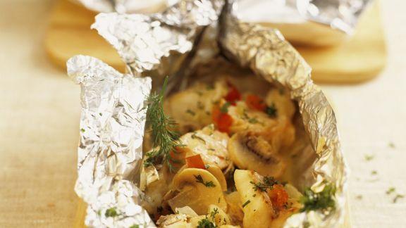 Rezept: Gebackenes Fischfilet mit Champignons