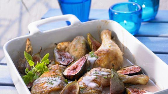 Rezept: Gebackenes Hähnchen mit Portwein und Feigen