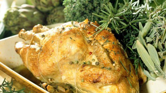 Rezept: Gebackenes Huhn mit Kräutern auf französische Art