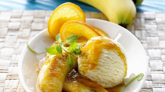 Rezept: Gebratene Bananen mit Eis