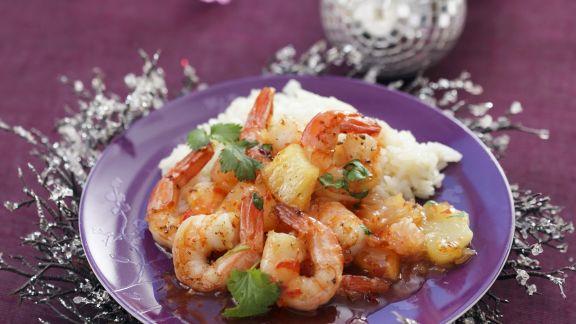 Rezept: Gebratene Garnelen mit Reis