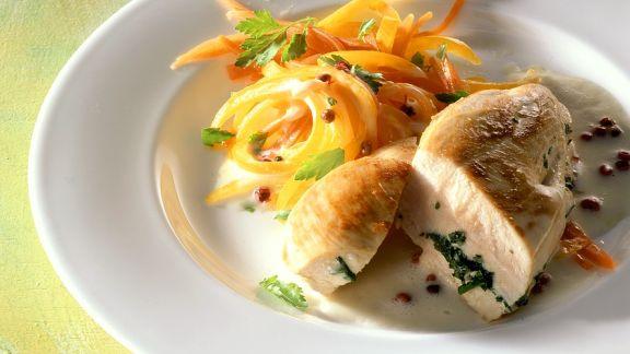 Rezept: Gebratene Hähnchenbrust mit Gemüse