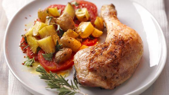 Rezept: Gebratene Hähnchenschenkel mit Gemüse