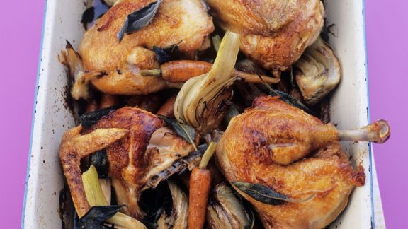 Rezept: Gebratene Hähnchenteile mit Fenchelgemüse