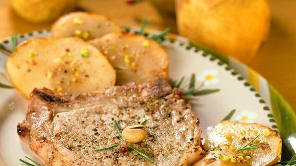 Rezept: Gebratene Schweinekoteletts mit Kartoffeln