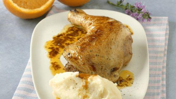 Rezept: Gebratener Hähnchenschlegel mit Orangensoße und Püree