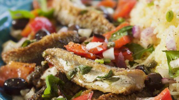 Rezept: Gebratener Hering mit Püree und Salat