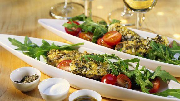 Rezept: Gebratener Schafskäse auf Salat