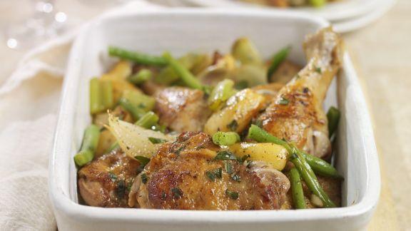 Rezept: Gebratenes Hähnchen mit grünen Bohnen