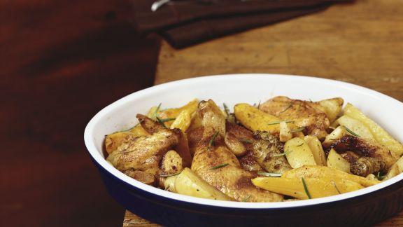 Rezept: Gebratenes Hähnchen mit Kartoffeln und Kürbis