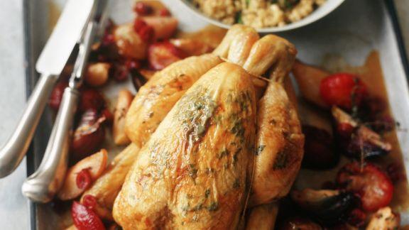 Rezept: Gebratenes Hähnchen mit Obst und Couscous