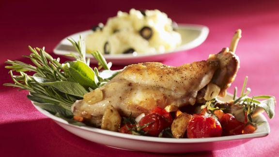 Rezept: Gebratenes Kaninchen mit Oliven-Kartoffelbrei