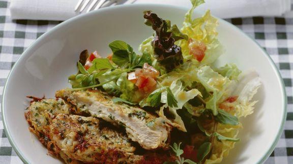 Rezept: Gebratenes Schweineschnitzel in Panade aus Kartoffeln