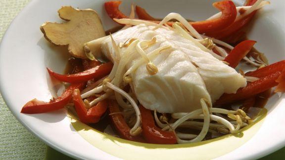 Rezept: Gedämpfter Fisch mit Sprossen und Ingwer