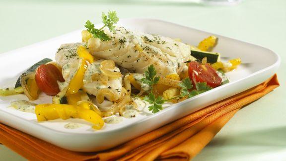 Rezept: Gedämpfter Kabeljau mit gemischtem Gemüse