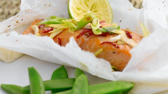 Rezept: Gedämpfter Lachs mit Zuckerschoten