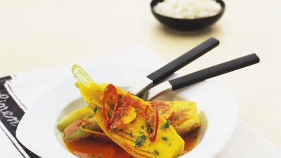 Rezept: Gedämpfter Orangenfenchel mit Reis