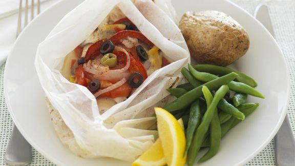 Rezept: Gedämpftes Fischfilet mit Gemüse