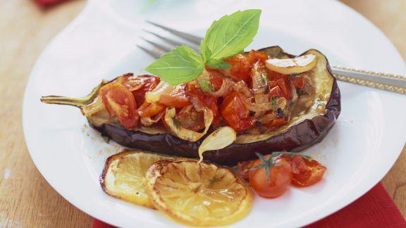 Rezept: Gefüllte Aubergine mit Tomaten