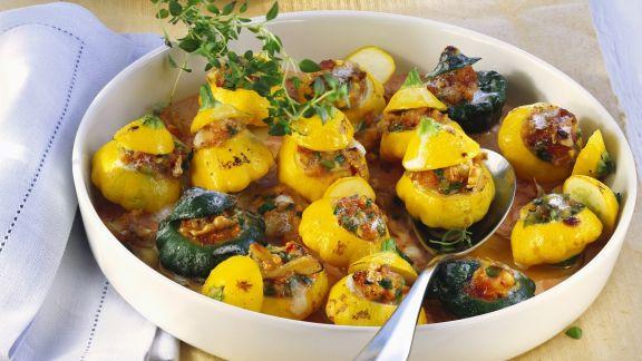 Rezept: gefüllte Patissonkürbisse mit Feta