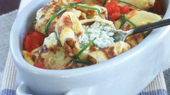 Rezept: Gefüllte Pfannkuchen mit Ricotta, Mozzarella und Tomaten