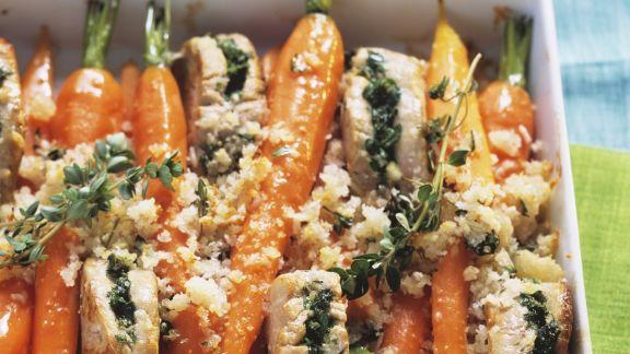 Rezept: Gefüllte Schweinemedallions mit Karotten und Parmesan überkrustet