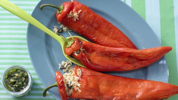 Rezept: Gefüllte Spitzpaprika mit Reis