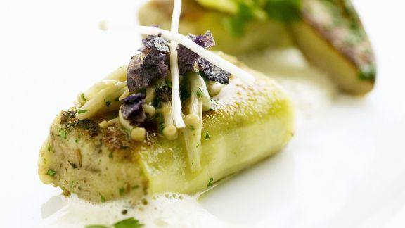 Rezept: Gegrillte Kerbel-Kartoffeltaschen mit Pilzen