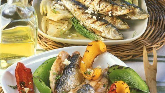 Rezept: Gegrillte Sardinen mit Gemüse
