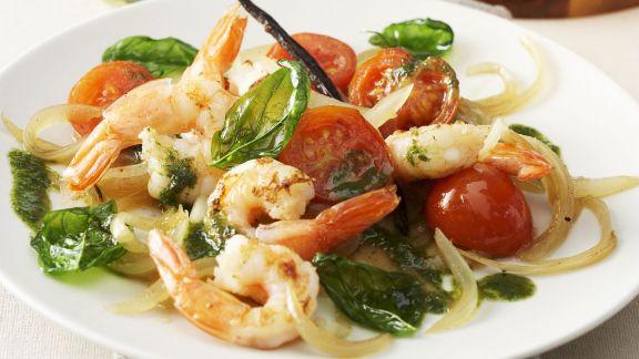 Rezept: Gegrillte Shrimps mit Vanille-Salat