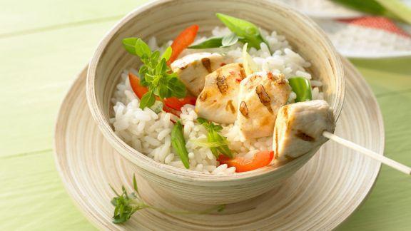 Rezept: Gegrillter Hähnchenspieß mit Reis und Gemüse