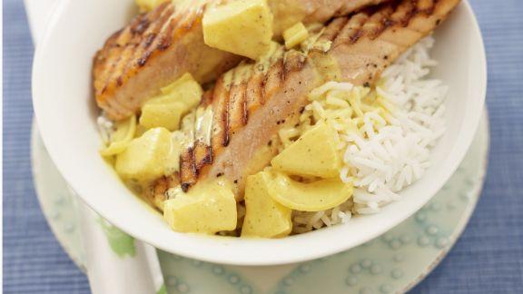 Rezept: Gegrillter Lachs mit Ananas