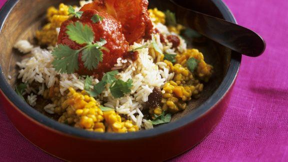 Rezept: Gelbes Dal mit Sultaninenreis aus Indien