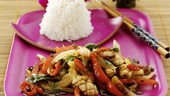 Rezept: Gemüse-Hähnchen-Pfanne auf thailändische Art