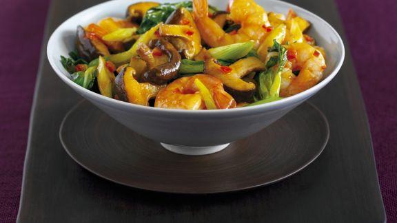 Rezept: Gemüse mit Garnelen