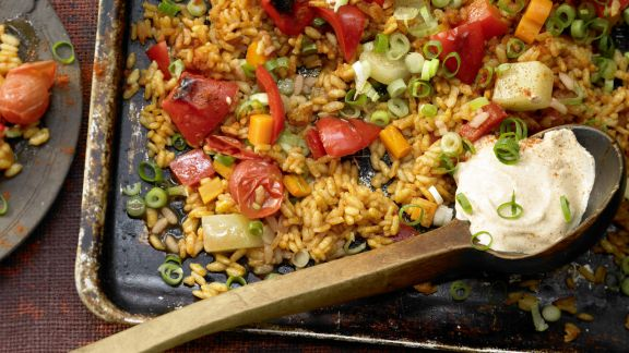 Rezept Gemüse-Reis-Pfanne aus dem Ofen