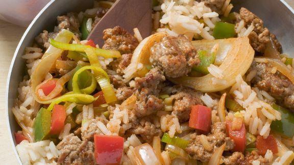 Rezept: Gemüse-Reis-Pfanne mit Schweinefleisch