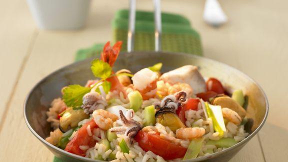 Rezept: Gemüse-Reispfanne mit Meeresfrüchten